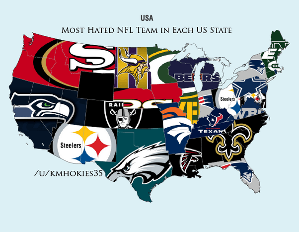 Most Hated NFL Teams By State
