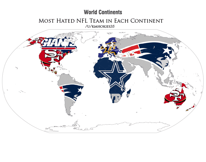 Most Hated NFL Teams By Continent