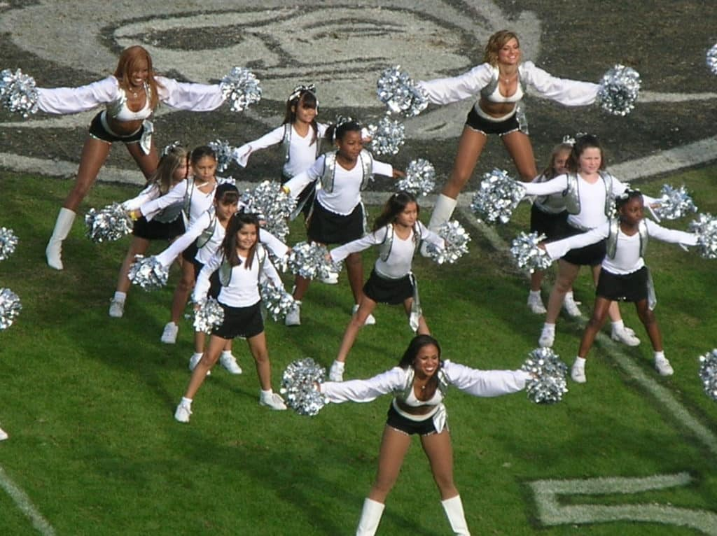 Photo of Raiderettes and Junior Raiderettes on the field